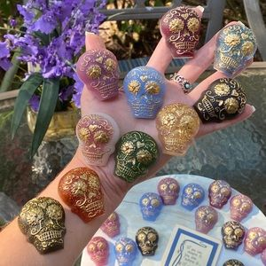 PACK OF 4 Magnets Sugar Skull Colorful Resin Art